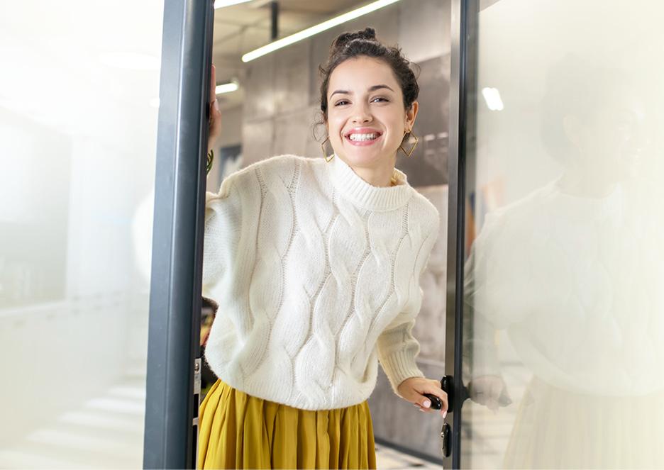 Woman at the office door